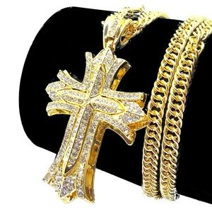 Other - Iced Out Gold Hip Hop Bling Punk Cross Jewelry